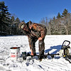 Packing up his gear after a day of ice fishing at Townsend Rod&Gun Club is Jeremy Hastings of Fitchburg. Nashoba Valley Voice Photo by David H. Brow.