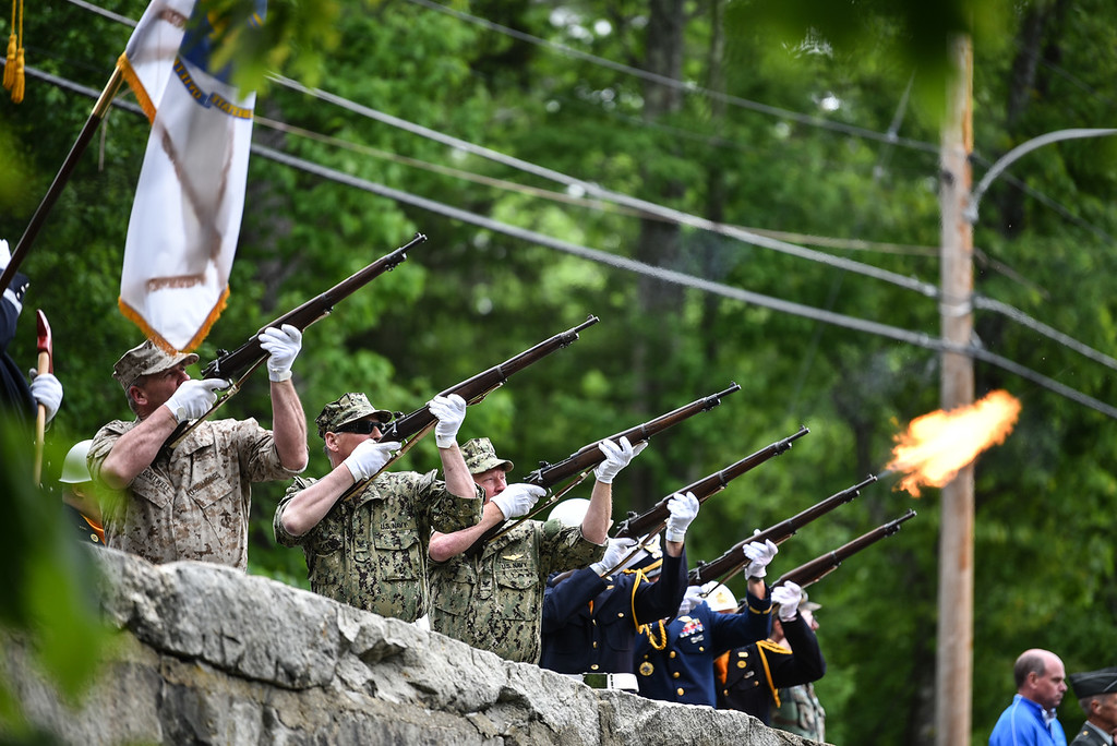 . The firing squad lets out three rounds in honor of those fallen during Sunday\'s Memorial Day parade Townsend.  SENTINEL & ENTERPRISE JEFF PORTER