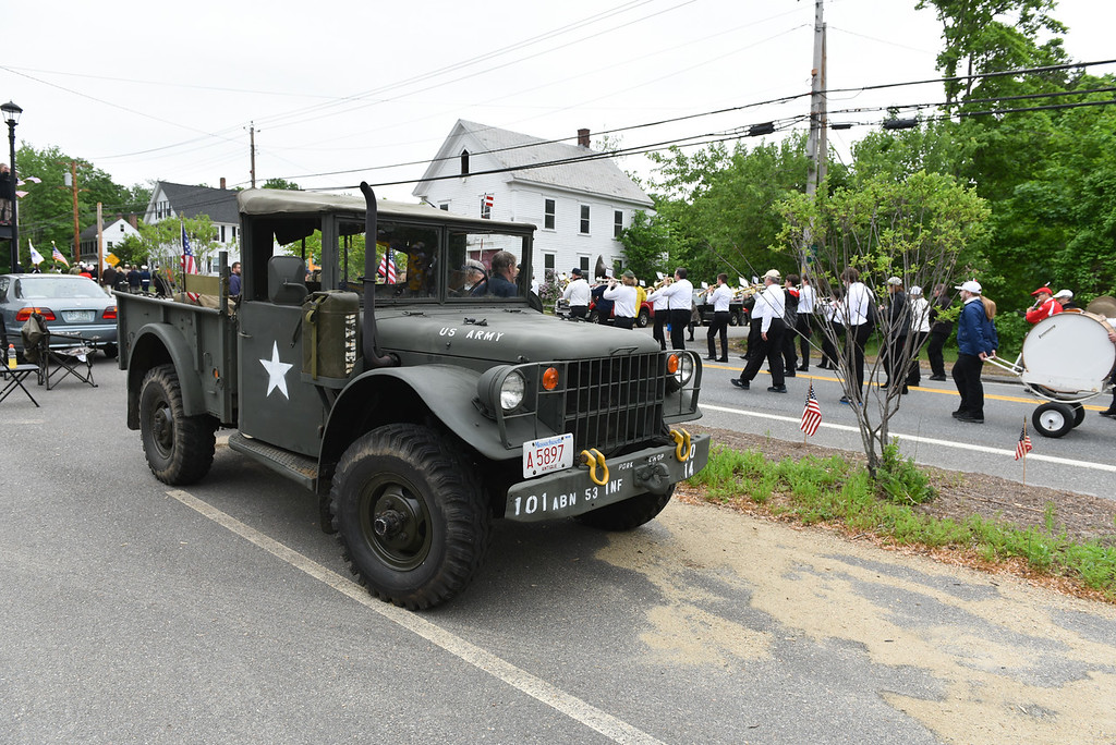 . An old military vehicle is parked along the Townsend Memorial Day parade route on Sunday.  SENTINEL & ENTERPRISE JEFF PORTER