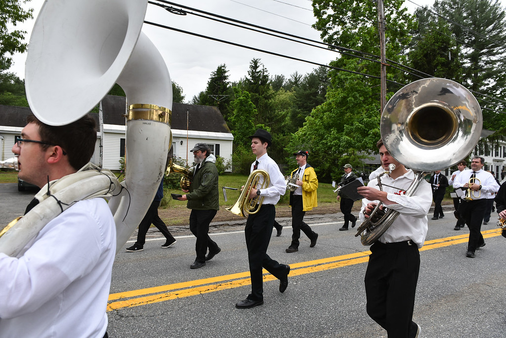 . The Townsend Military Band marches through the streets of Townsend during Sunday\'s Memorial Day parade.  SENTINEL & ENTERPRISE JEFF PORTER