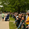 Parade Viewers line the fence on the Town Common in Townsend. Sentinel & Enterprise/ Jim Fay