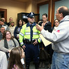 Residents filled the Townsend Selectmen's chambers during their meeting set for 6 p.m. on Tuesday February 14, 2017 and caused them to chancel the meeting. Resident Joe Shank tries talk to Trooper Joseph Hall after enter the chambers. SENTINEL & ENTERPRISE/JOHN LOVE