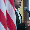 The Town of Townsend celebrated the renovations done to their Veterans Memorial on the Upper Common Friday, Nov. 22, 2019. State Senator Dean Tran addresses the crowd during a small ceremony at Memorial Hall. SENTINEL & ENTERPRISE/JOHN LOVE