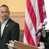 The Town of Townsend celebrated the renovations done to their Veterans Memorial on the Upper Common Friday, Nov. 22, 2019. State Senator Dean Tran listens to State Rep. Sheila Harrington as she addresses the crowd during a small ceremony at Memorial Hall. SENTINEL & ENTERPRISE/JOHN LOVE