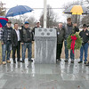 The Town of Townsend celebrated the renovations done to their Veterans Memorial on the Upper Common Friday, Nov. 22, 2019. From left posing at the memorial  befor heading down to the Memorial Hall for the ceremony is Army veteran Marcy Mula, Navy Veteran Steve Spofford, State Senator Dean Tran, Taz with American Veterans Motorcycle Club, John Page Trustee of the Veterans Memorial in Townsend, Rick Bastien the director of the MA Veteran's Memorial Cemeteries, Shrek with AVMC, Navy Veteran Ray Boyes and Army Veteran Bruce Williams. SENTINEL & ENTERPRISE/JOHN LOVE