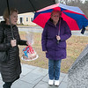 The Town of Townsend celebrated the renovations done to their Veterans Memorial on the Upper Common Friday, Nov. 22, 2019. Looking over the meorial is Lyn Giancotti and Army veteran Marcy Mula, right. SENTINEL & ENTERPRISE/JOHN LOVE