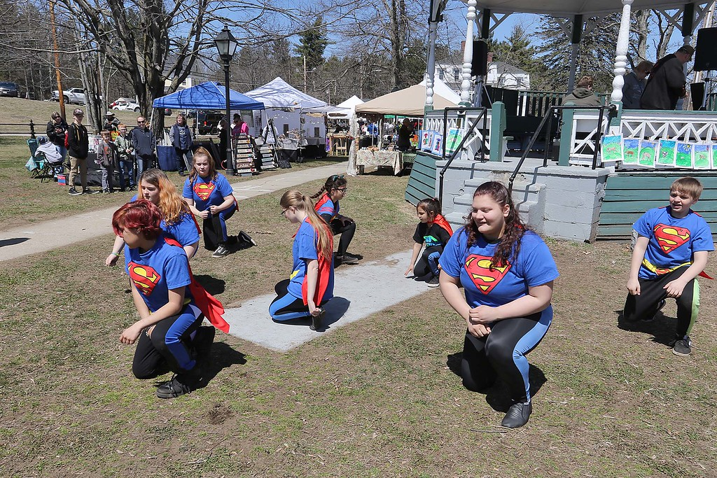 ". The ""No bullying Zone\"" dance group from Lowell helped entertain the crowd on the Townsend common Saturday during Townsend\'s Earth Day event. SENTINEL & ENTERPRISE/JOHN LOVE"