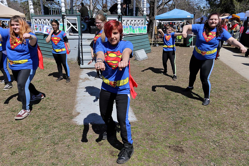 ". The ""No bullying Zone\"" dance group from Lowell helped entertain the crowd on the Townsend common Saturday during Townsend\'s Earth Day event. In front in the red hair is dancer Kylie Rasio, 13. SENTINEL & ENTERPRISE/JOHN LOVE"