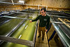 Jamie Nystrom, co-owner of Bensch Mountain Maple, in Townshend, Vt., talks about the 8600-gallon holding tanks and how they separate the water for the sap before boiling it.