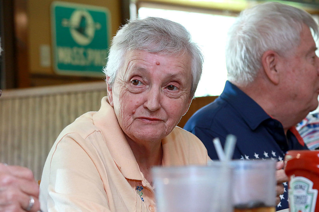 . The Townsend Spaulding High School class of 1958 at their 60 reunion held at the Townsend House in Townsend on Tuesday, June 19, 2018. Class member Jane Misner talks about life after high school. SENTINEL & ENTERPRISE/JOHN LOVE