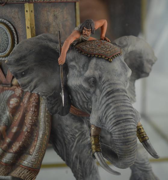 Carthaginian War Elephant, Three Warriors in Howdah plus Handler-Arsenyev-St Petersburg Collection-PB50 img3