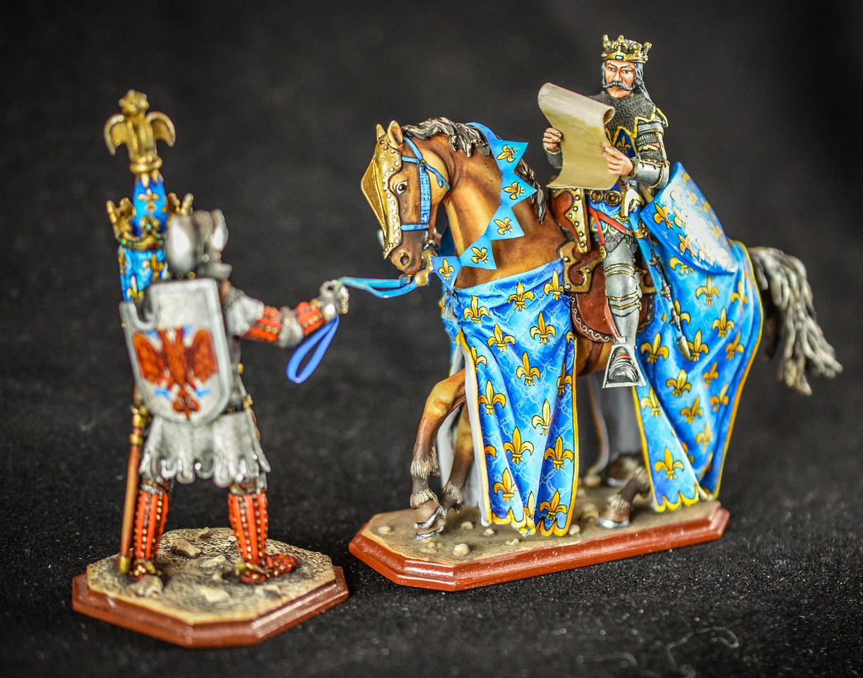King Philip VI w- Knight Holding Horse, Shield, Helmet 1