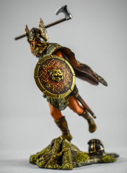 Barbarian w- Winged Helmet Swinging Axe 1