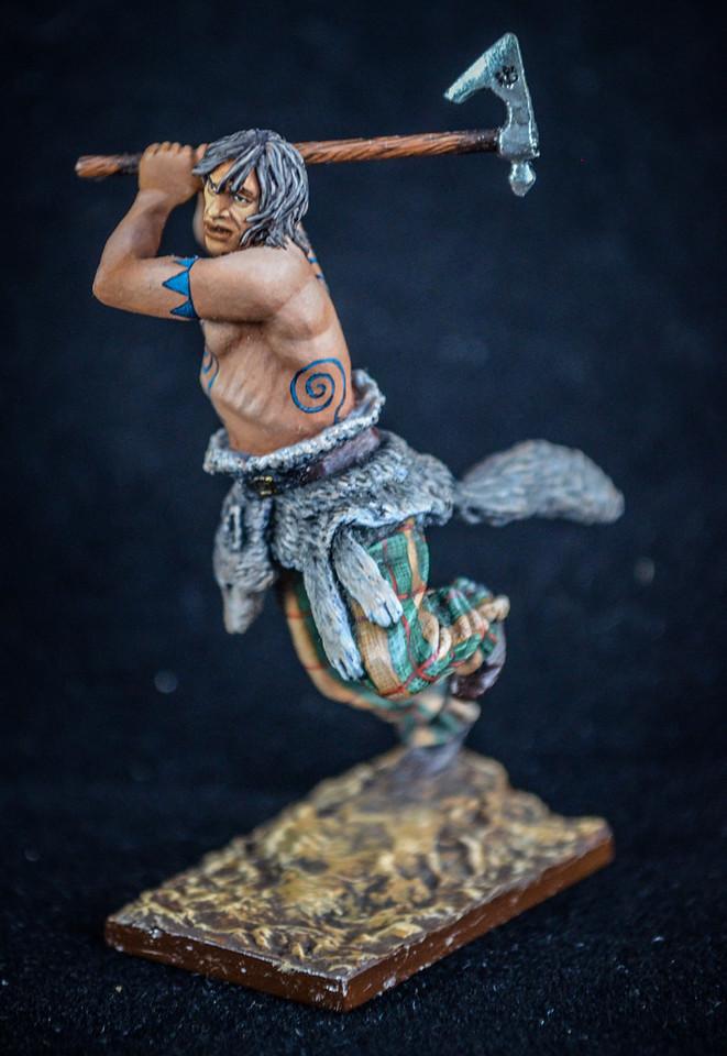Barbarian in Battle w- Axe w- Pelt around waist 1
