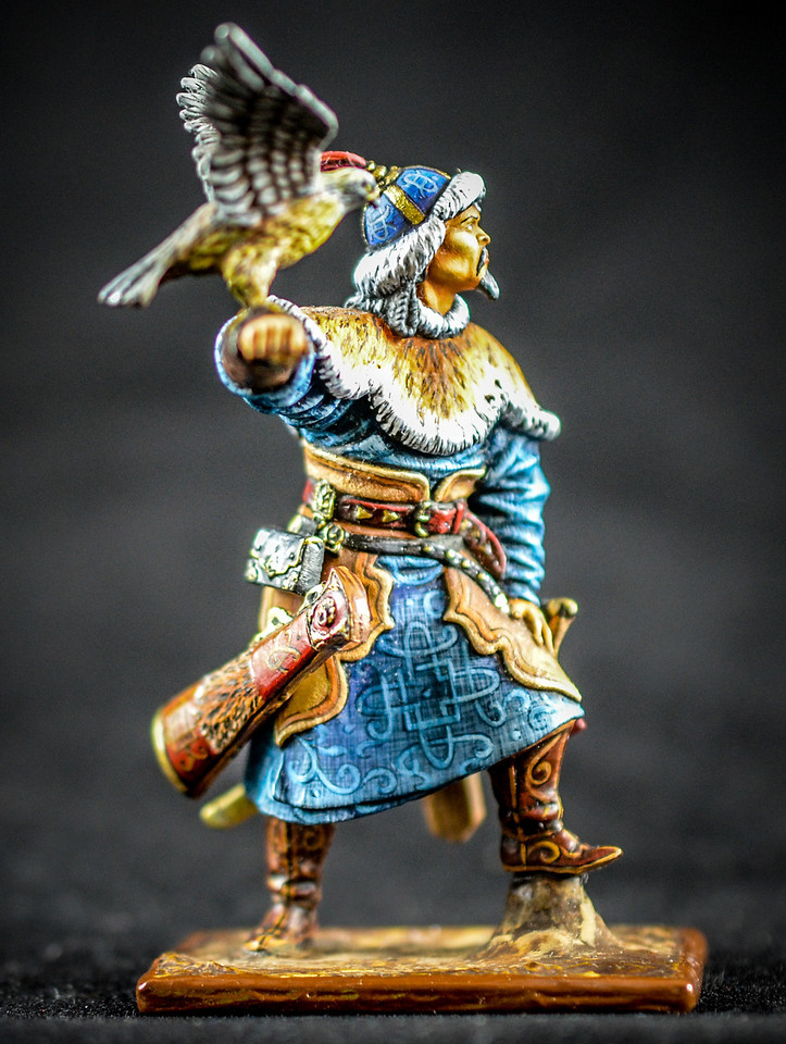 Mongol Warrior w- Hunting Hawk on Arm 1
