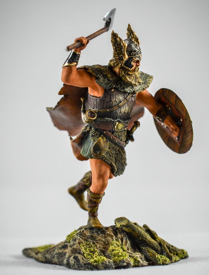 Barbarian w- Winged Helmet Swinging Axe 2