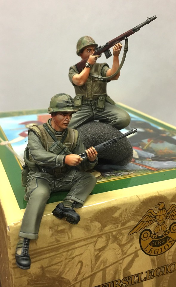 USMC Infantry Tank Riders-Loading M-16 and Firing M-14-First Legion-VN029