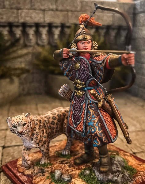 Khutulun, Mongol Princess Warrior w-Snow Leopard-AeroArt-St Petersburg Collection-6414 img2