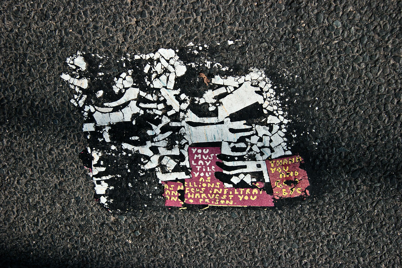 Toynbee Tile off of Exit 55 of I-95 in Connecticut. Nearly, but not entirely identical to several other tiles of the same era.