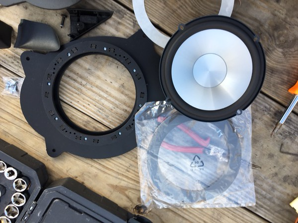 "Left:  Speaker adapter from <a href=""http://car-speaker-adapters.com/items.php?id=SAK010""> Car-Speaker-Adapters.com</a> <br>  Top Right: Aftermarket speaker  <br> Bottom: Foam Speaker Surround"