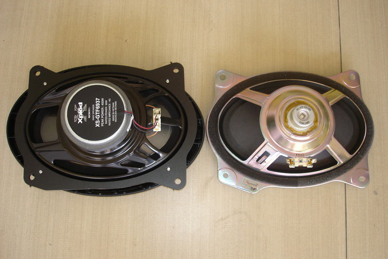 "Rear view: Aftermarket speaker and speaker adaptor ring assembly from   from  <a href=""http://www.car-speaker-adapters.com/items.php?id=SAK008""> Car-Speaker-Adapters.com</a>   compared to OEM speaker"