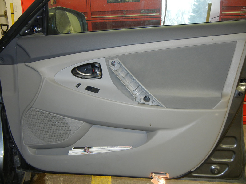 Passenger side door before speaker installation