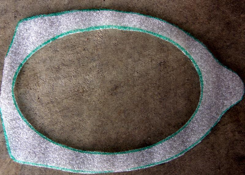 """Foam sealer applied to speaker adaptor plate  from  <a href=""""http://www.car-speaker-adapters.com/items.php?id=SAK007""""> Car-Speaker-Adapters.com</a>"""
