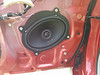 "Aftermarket speaker and speaker adapter plate   from  <a href=""http://www.car-speaker-adapters.com/items.php?id=SAK010""> Car-Speaker-Adapters.com</a>   installed on door"