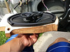 Aftermarket speaker and homemade MDF speaker adapter swelled with moisture