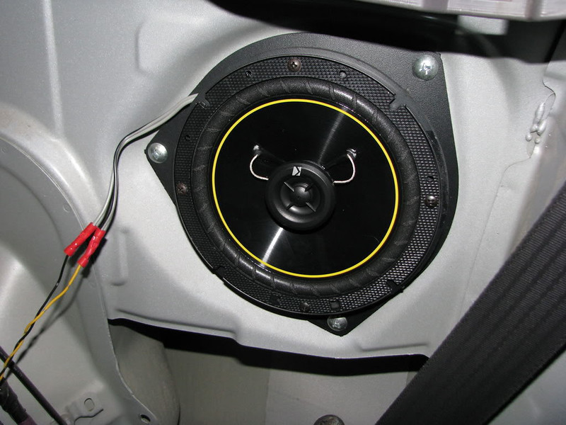 "Kicker 6.5"" 2-way speakers installed using speaker adapters from   <a href=""http://www.car-speaker-adapters.com/items.php?id=SAK036""> Car-Speaker-Adapters.com</a>"