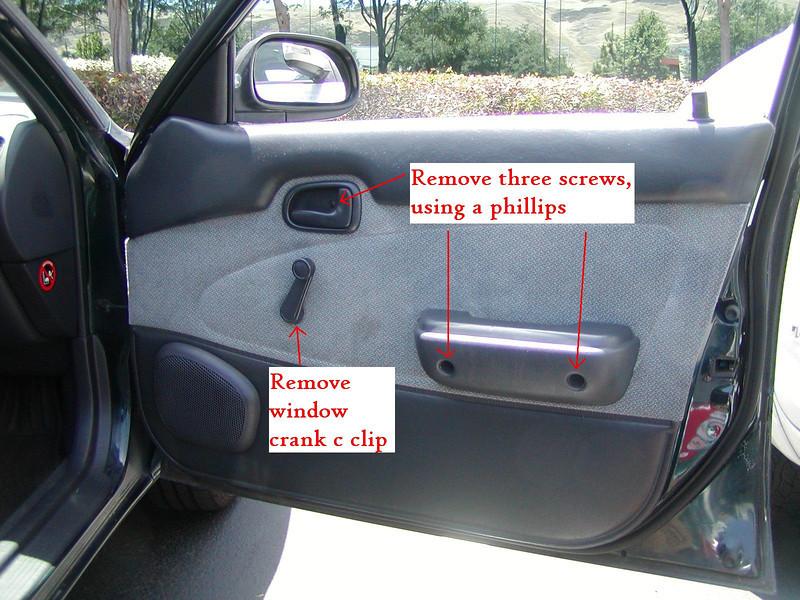 Remove the 3 screws using a Phillips screwdriver.  Remove window crank c clip