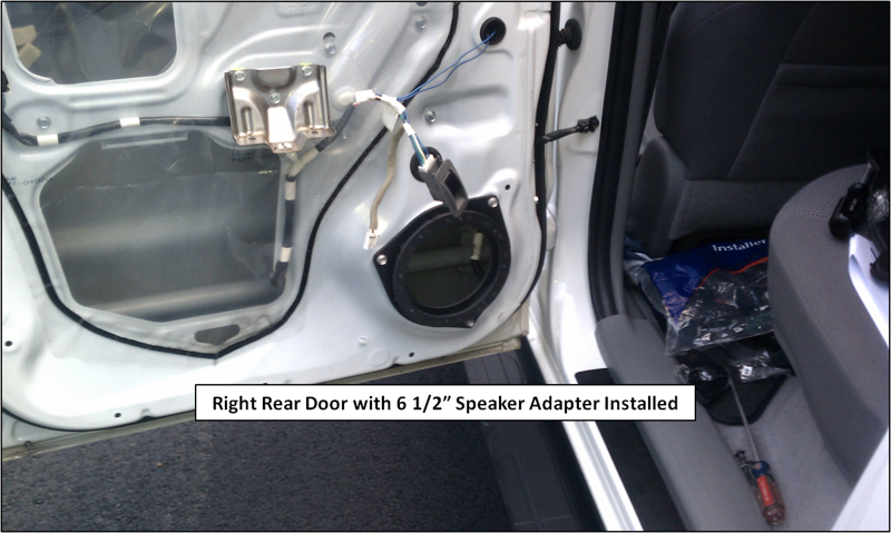 """Speaker adapter from  <a href=""""http://www.car-speaker-adapters.com"""">http://www.car-speaker-adapters.com</a> mounted to door."""