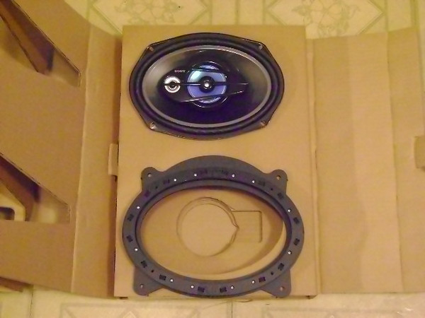 """Speaker adapter from  <a href=""""http://www.car-speaker-adapters.com"""">http://www.car-speaker-adapters.com</a> compared to aftermarket Sony 6x9"""" speakers."""