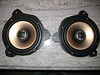 """Aftermarket speakers mounted to speaker adapters  from  <a href=""""http://www.car-speaker-adapters.com/items.php?id=SAK010""""> Car-Speaker-Adapters.com</a>   (modified to fit rear of Toyota Tacoma)"""