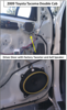 Door panel removed to expose factory speakers