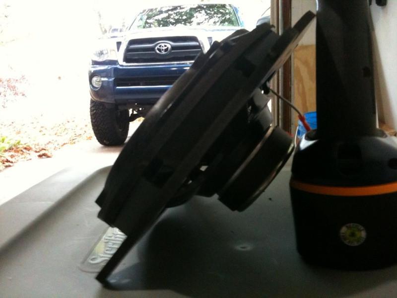 "Aftermarket speaker mounted to speaker adapter from  <a href=""http://www.car-speaker-adapters.com"">http://www.car-speaker-adapters.com</a> (side view)"