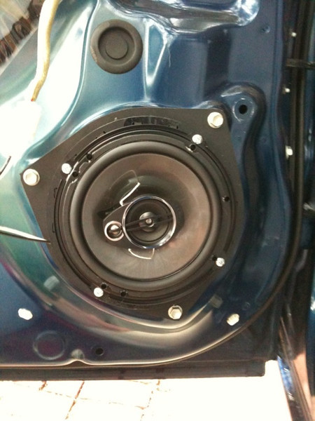 """speaker adapter from  <a href=""""http://www.car-speaker-adapters.com"""">http://www.car-speaker-adapters.com</a> and aftermarket speaker mounted in vehicle (view 1)"""