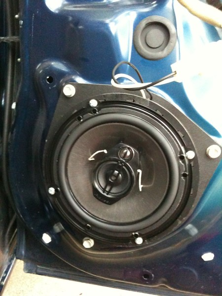 """speaker adapter from  <a href=""""http://www.car-speaker-adapters.com"""">http://www.car-speaker-adapters.com</a> and aftermarket speaker mounted in vehicle (view 2)"""