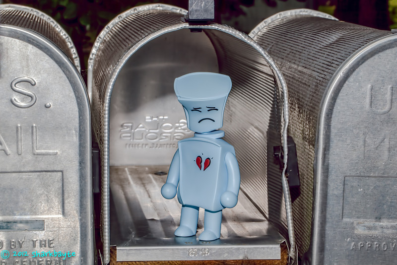 No mail for you<br /> July 20, 2012-Broken Heart Robot, went to check on the mail. He was a bit sad and blue, that he didn't have any mail. I told him we could check to see if he got some email. (Day 20/365) *just realized I didn't post this on Friday.