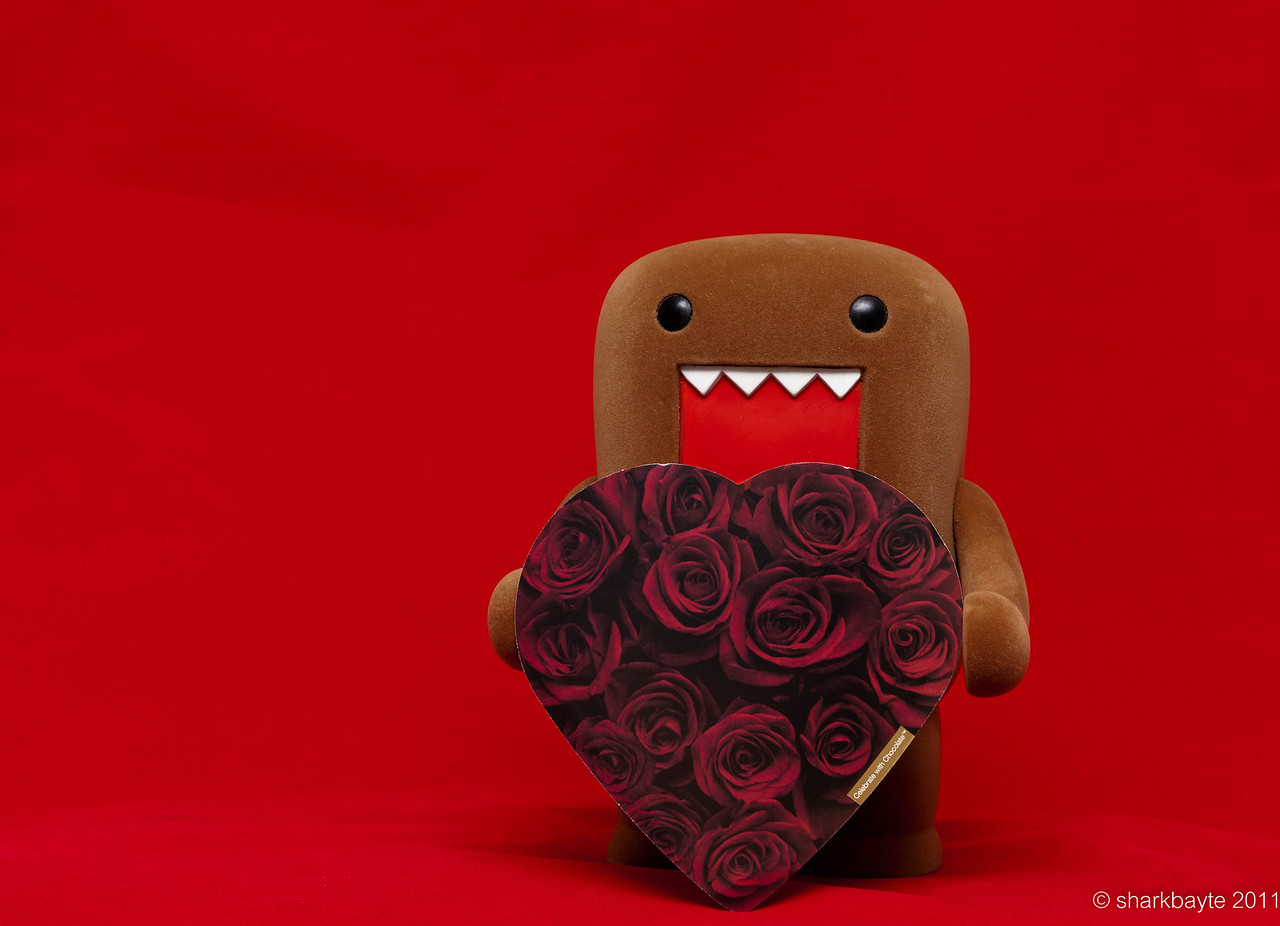 February 14, 2011- From Domo's heart to yours Happy Valentine's Day!  RAAR!!! (happy growl). Day 45 #365Project @sharkbayte