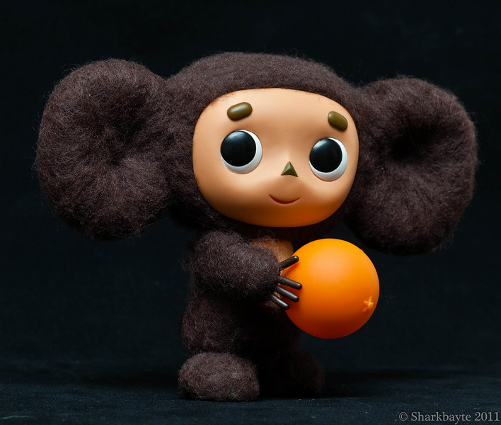 March 26, 2011-Hi! They call me Cheburashka, although that is not really my name. I don't remember my name. I used to live in a beautiful tropical jungle. One morning I got up early while everyone was still sleeping. I wanted to go outside to play and get some fresh air. I left my home where my parents and my siblings were sleeping. I kept walking and walking until I came to the edge on the jungle and there I saw a large orchard and some boxes of oranges. Since I was hungry, I climbed into one of the boxes and began to eat breakfast. I ate three whole oranges, and that was a mistake, because my belly was too full and I was getting very sleepy. So I went to sleep on top of the fruit, in the box. When I woke up it was very dark, and I could not get out of the box, it was nailed shut. Now, I was hungry because it was late, so I ate some more oranges and went to sleep again. I must have slept a long time. I heard strange noises which scared me, I felt like I was moving and getting bounced around. I tried to get out but I couldn't move. Finally I heard humans talking and I could see some light coming through the tiny holes in the box. Then the top of the box opened. When the box opened, I saw that almost all of the oranges were gone, and I was so full my stomach was bloated and I could not sit up. Then a human picked me up and tried to make me stand, but I could not because my leg was numb from being cramped in the box. When I tried to walk I fell because of my leg being numb and sleeping. The human said I looked like a tumbling (cheburahalsya) toy. And so he called me Cheburashka.  (Day 86:365 @sharkbayte)