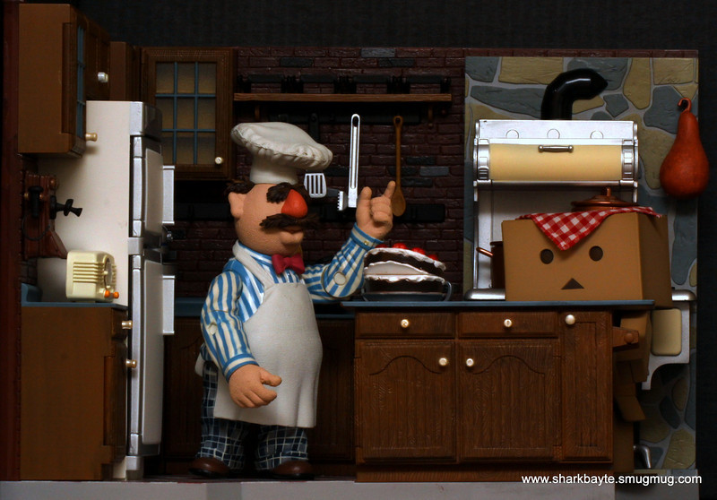 """#365Project Day 123/365- Danboard went to help  a neighbor today, not sure how much of a help he was to Chef Bob as he seems to be drooling over that cake. """"Börk, börk, börk!""""  (1/3s f/22.0 ISO:400 Focal Length: 100.0mm @sharkbayte)"""