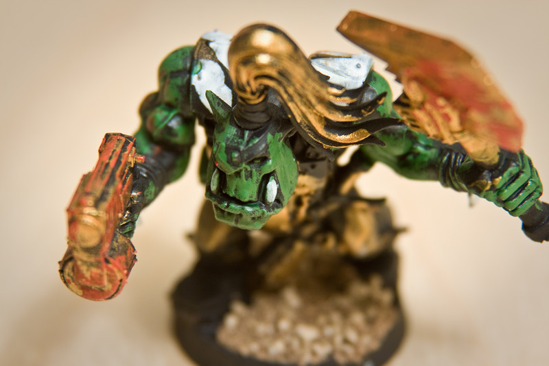 A Warhammer 40,000 figure hand painted by Jonathan.