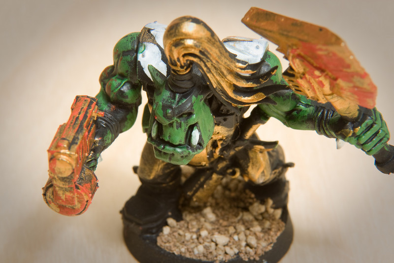 A Warhammer 40,000 figure hand painted by Jonathan (more depth of field).