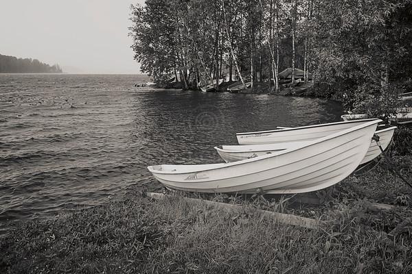 Rowing Boats At Rain