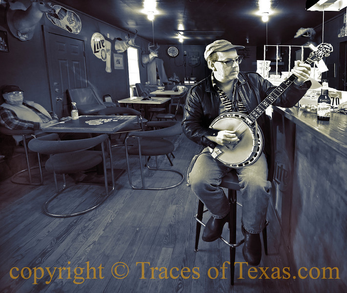 """Title:  Banjo Brian<br /> <br /> <br /> Comments: I have the luckiest """"job"""" in Texas. I drive around the state, happen upon out-of-the-way places, stop in, and talk to the locals. This is """"Banjo Brian,""""  an astonishingly talented banjo player and a quintessential Texas character in his own right.<br /> <br /> Location: Ammansville"""