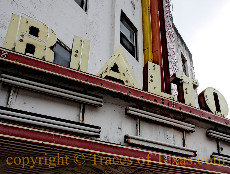 """Title: Rialto Rendezvous<br /> <br /> Comments:  The passing away of the all the old theaters in Texas lies heavy on my heart. I read Larry McMurtrey's """"Last Picture Show""""  once a year in homage.<br /> <br /> Location: Sinton"""