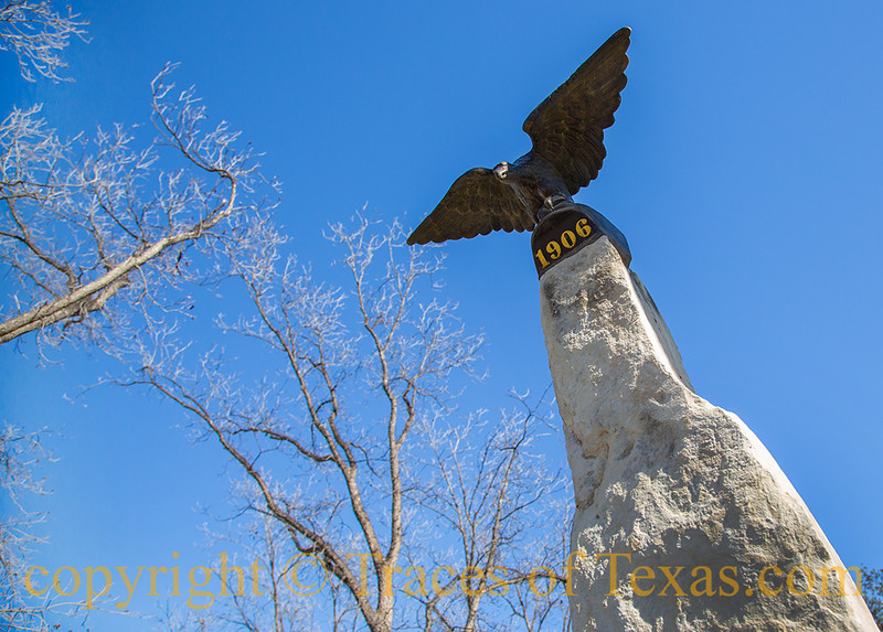 Title: Lost, then Found <br /> <br /> Comments: This bronze eagle is on an obelisk  outside the county courthouse in Sanderson, Texas.  It was affixed to the courthouse when the structure was built but subsequently stolen. Its whereabouts were unknown for about 70 years. In 1995 it was found, ransomed, and returned to the county. <br /> <br /> Location: Sanderson