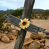 Title:   Flower and Cross <br /> <br /> Comments: A pauper's grave in the desert. <br /> <br /> Location: Terlingua, Texas
