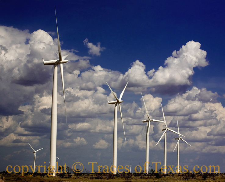 Title:   This is Not Your Father's Panhandle<br /> <br /> Comments: Oil wells are being replaced right and left. This wind farm generates enough electricity to power 50,000 homes. <br /> <br /> Location: Mcadoo, Texas